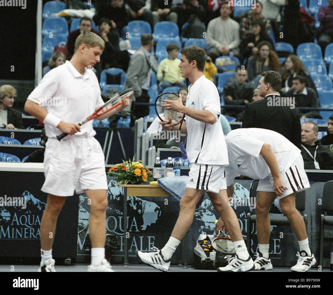 Russian tennis players Yevgeny Kafelnikov left and Marat Safin