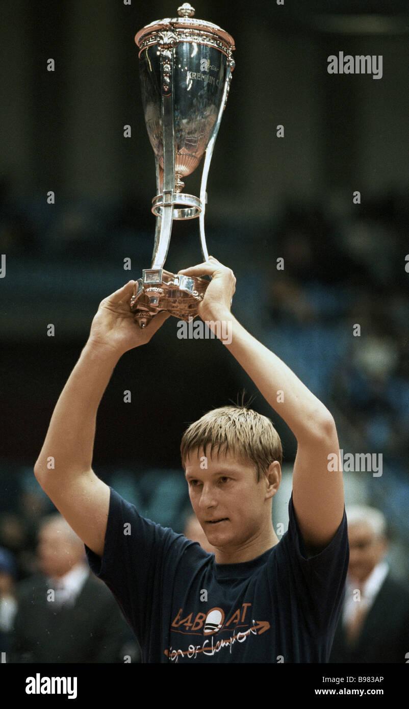 Tournament winner Yevgeny Kafelnikov holding the Kremlin Cup Stock