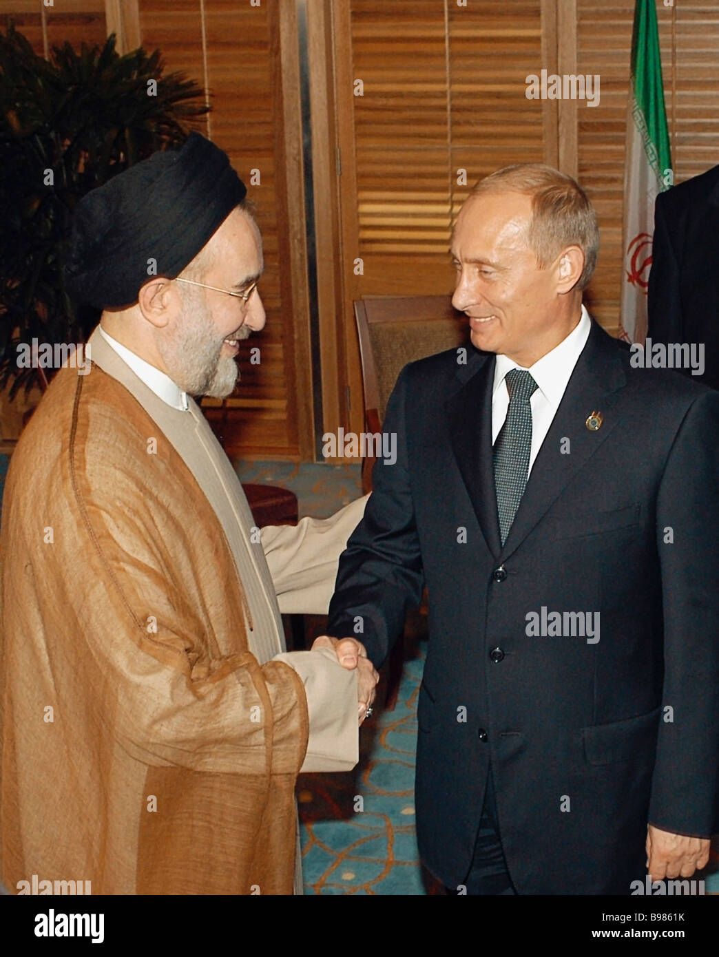 Russian president vladimir putin and iranian president mohammad russian president vladimir putin and iranian president mohammad khatami during a meeting in the city of putrajaya on discussing kristyandbryce Images