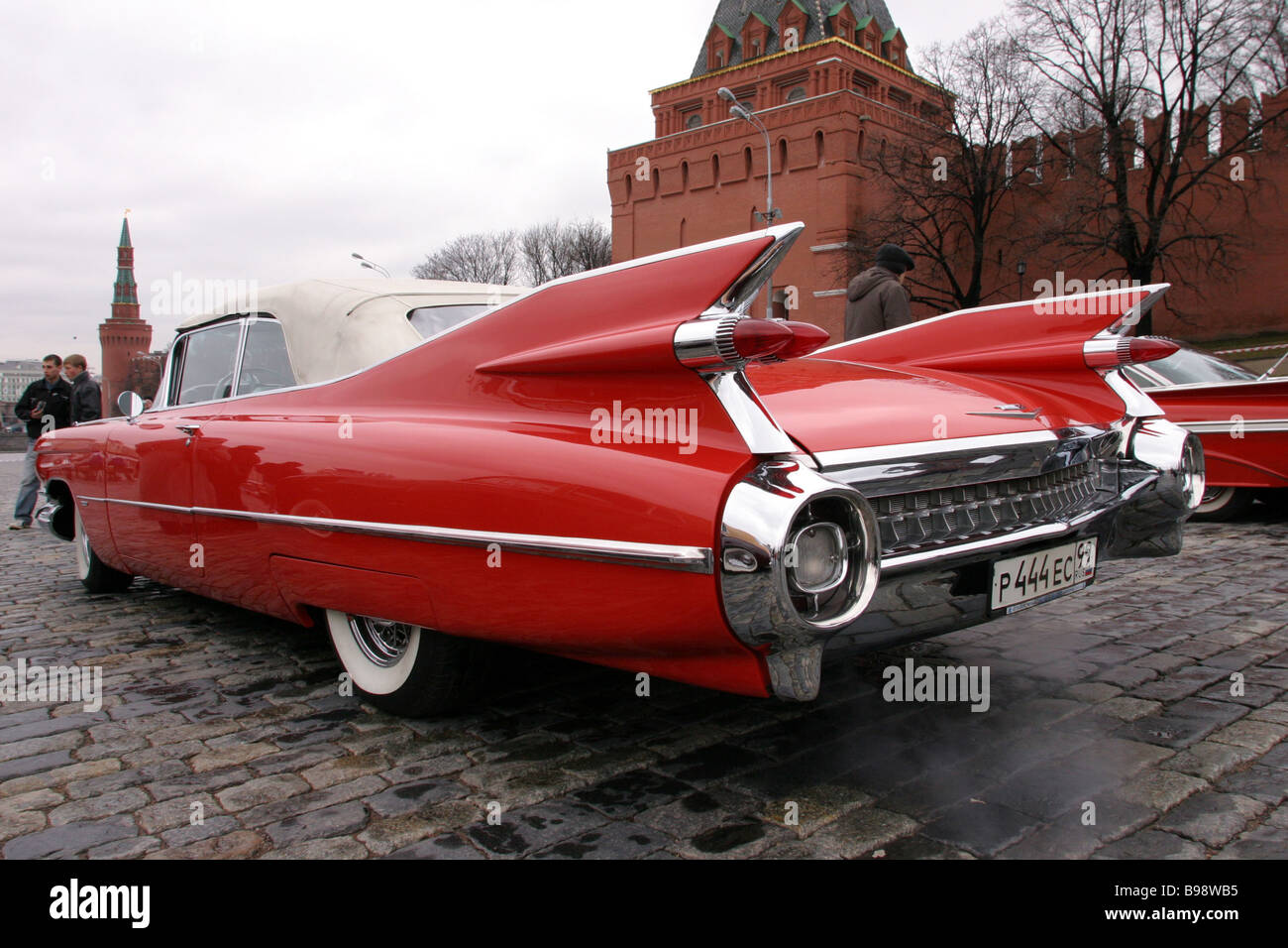 A vintage car race is held at Vasilevsky Spusk Tha cars are no Stock ...