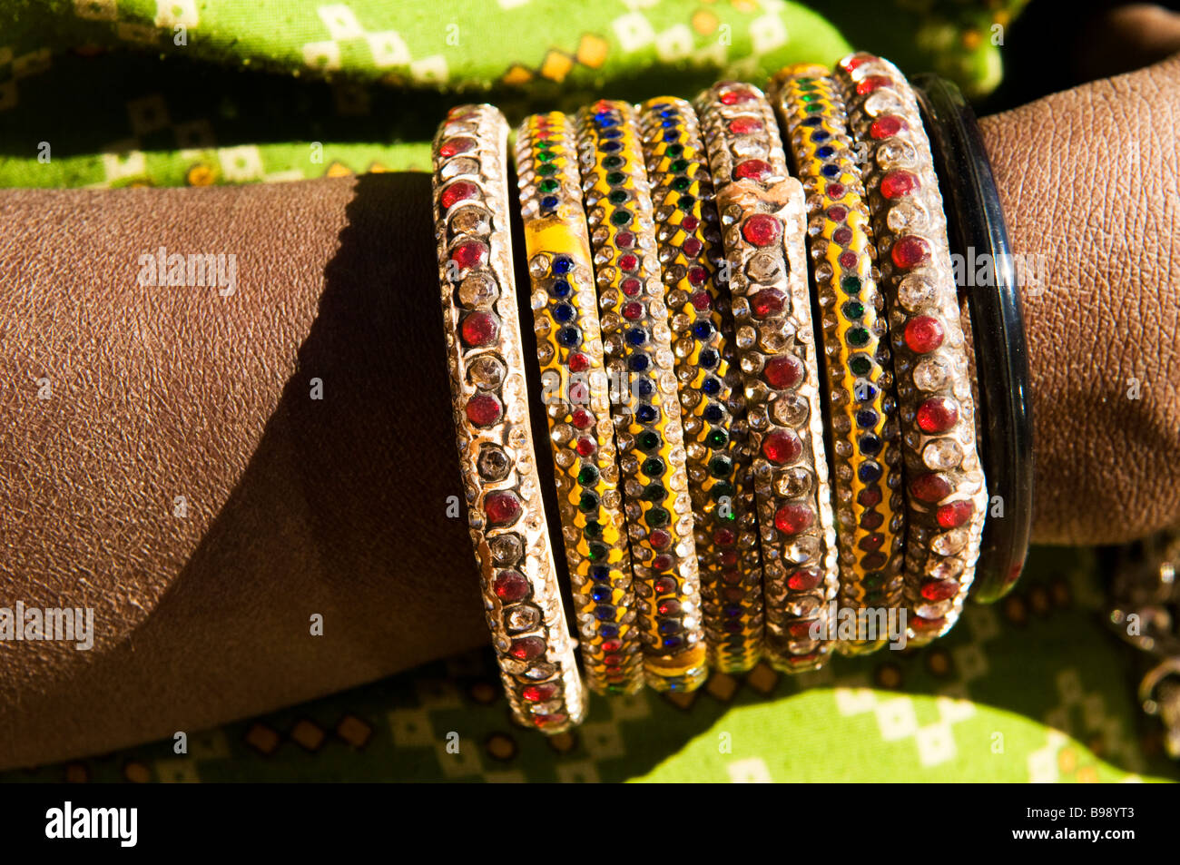 A model exhibits beautiful bangles on her hand Stock Photo ...