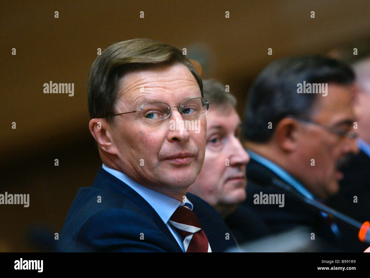 From left to right Russian Deputy Prime Minster <b>Sergei Ivanov</b> and ... - from-left-to-right-russian-deputy-prime-minster-sergei-ivanov-and-B991R9