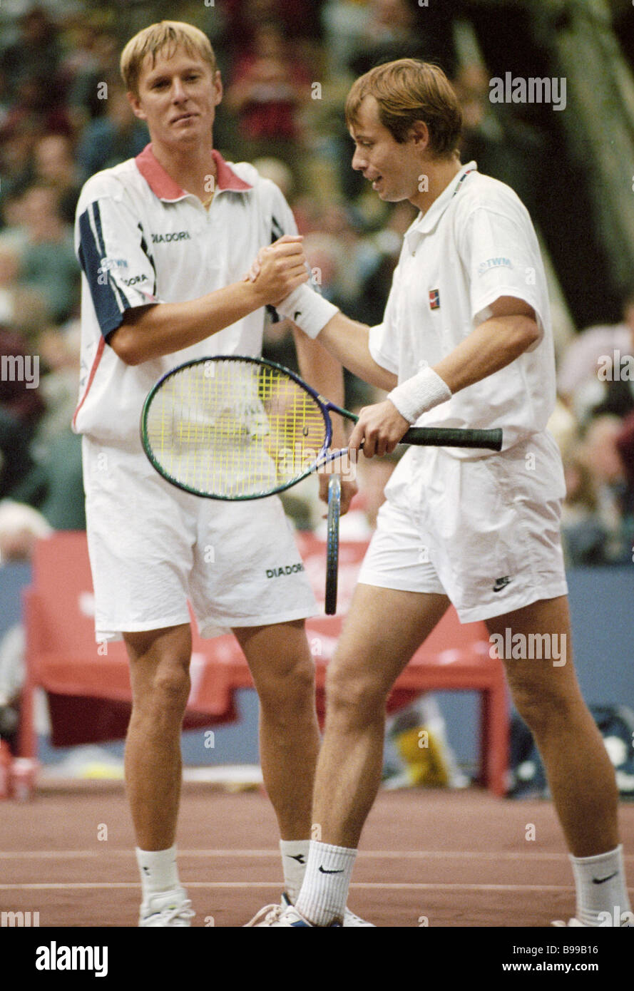 Tennis players Yevgeny Kafelnikov left and Andrei Olkhovsky during