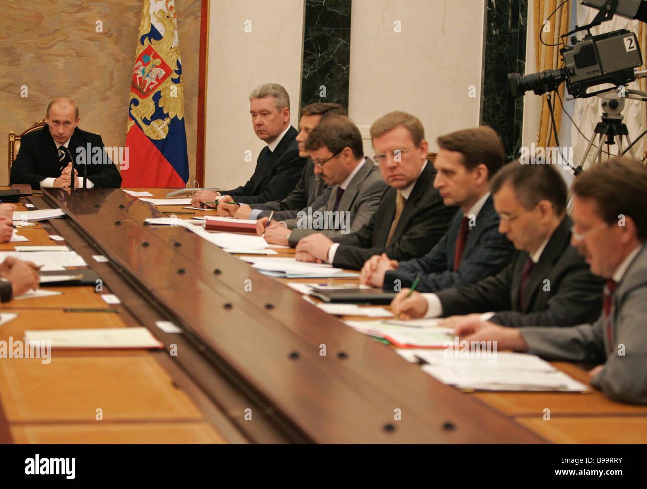 President Vladimir Putin left at the Kremlin conference with ...