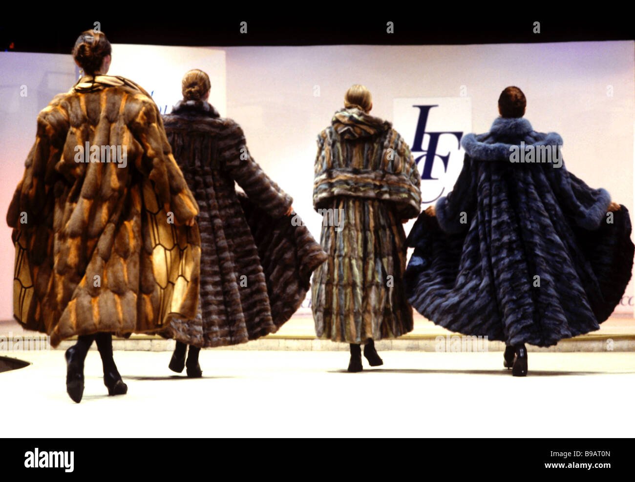 Moscow fashion designer Irina Krutikova s fur coats on show Stock ...