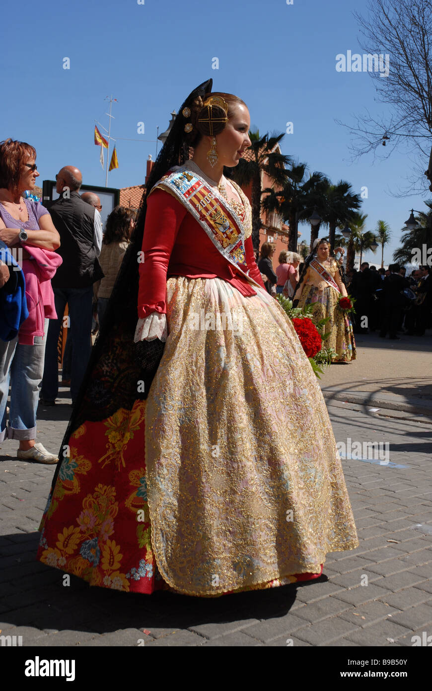 Fallera in traditional dress, Las Fallas Fiesta, Dia de San Jose Stock Photo,...