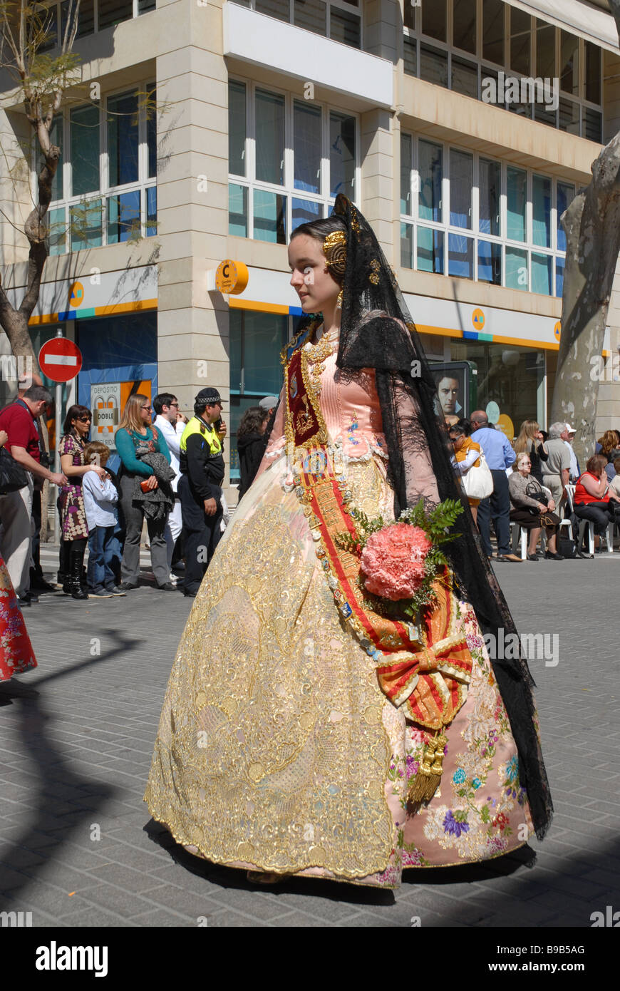 Fallera in national costume at Las Fallas Fiesta, Dia de San Jose Stock Photo...