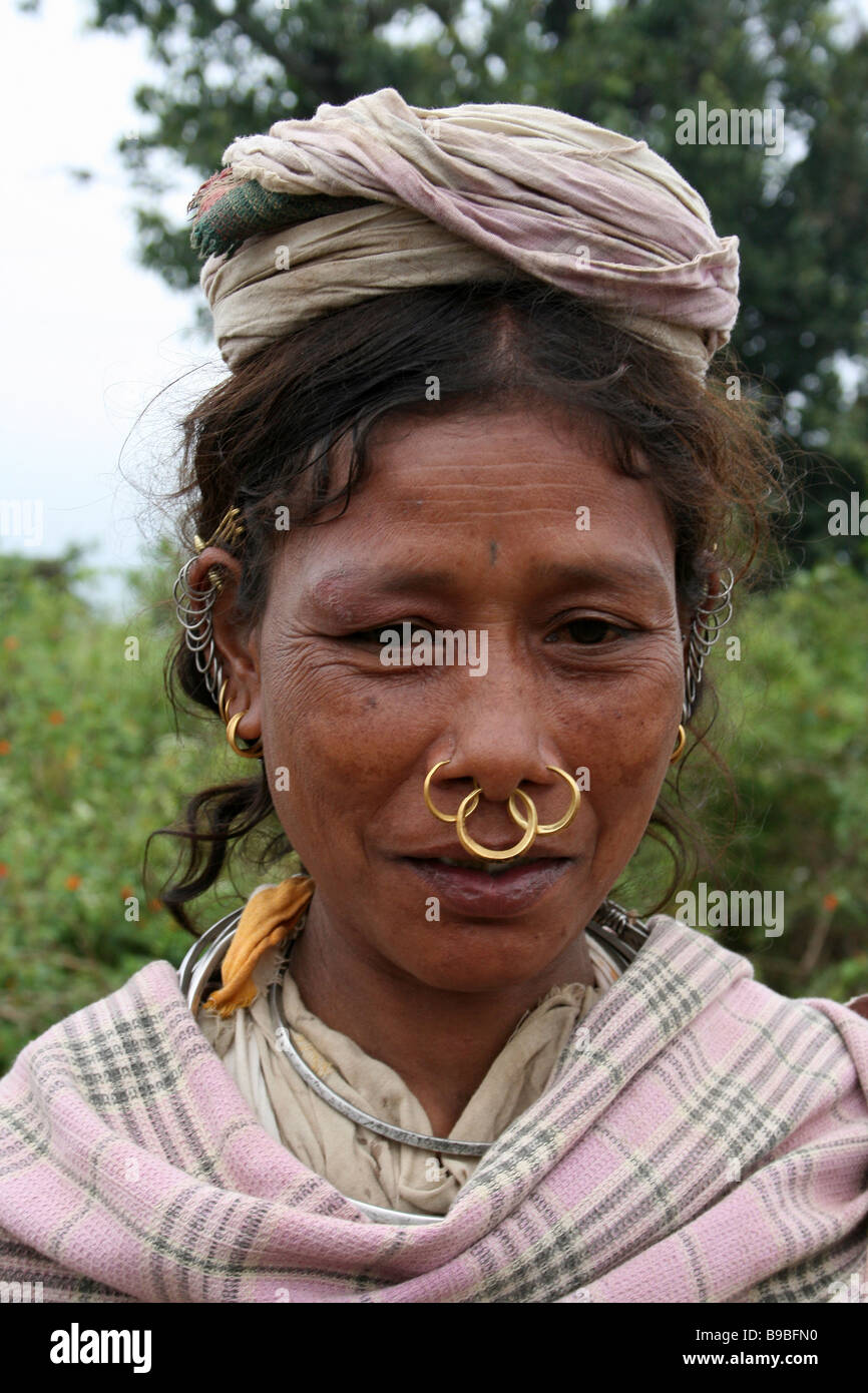 Portrait of Dongariya Kondh Tribe Woman with Nose Rings Stock ...