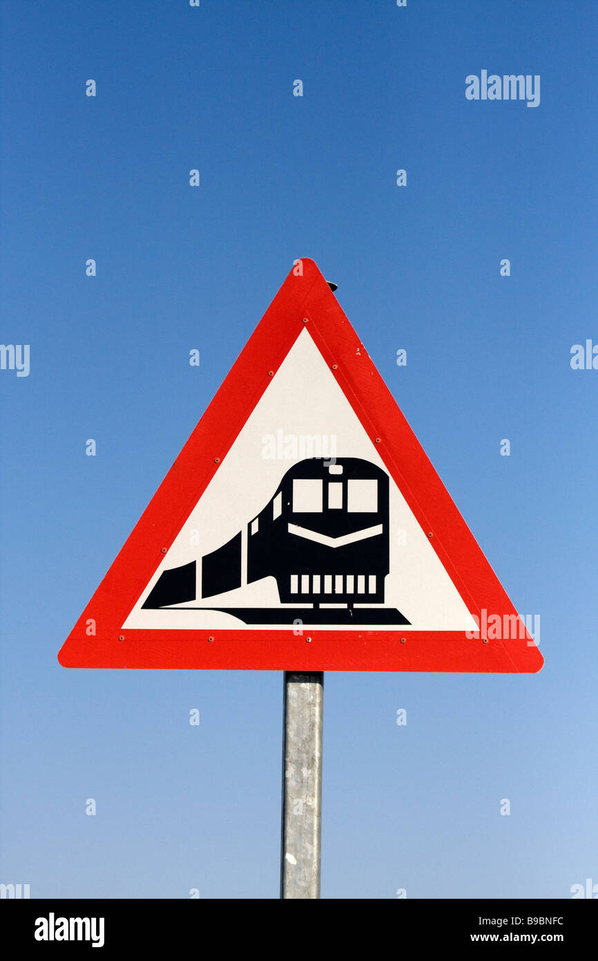 a road sign for a train crossing in the northern cape