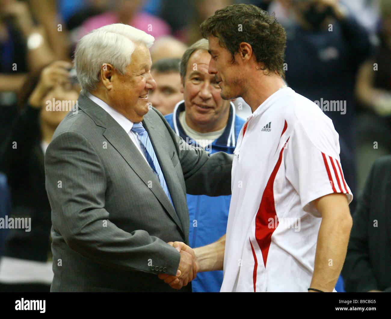 Boris Yeltsin Russia s first President congratulates Marat Safin