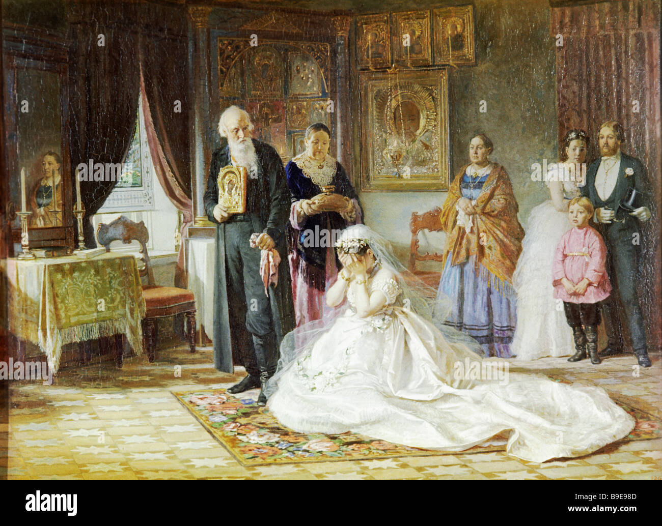 a reproduction of the painting before the wedding 1874 by fris zhuravlyov 1836 1901 from the collection of the state russian
