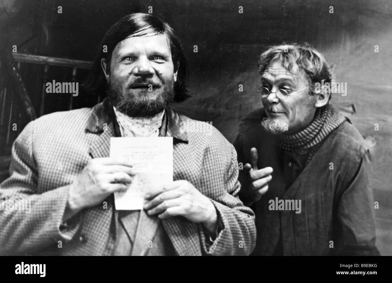 Mikhail Pugovkin Left And Leonid Gaidai In The Film Twelve Chairs Filmed At  The Mosfilm Film Studio By Leonid Gaidai