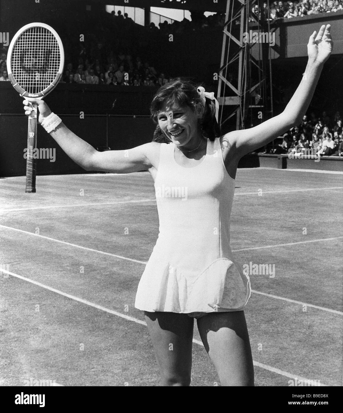 Soviet tennis player Olga Morozova after defeating B King of the