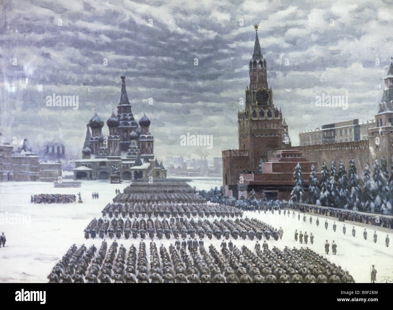 konstantin yuon military parade in red square november 7