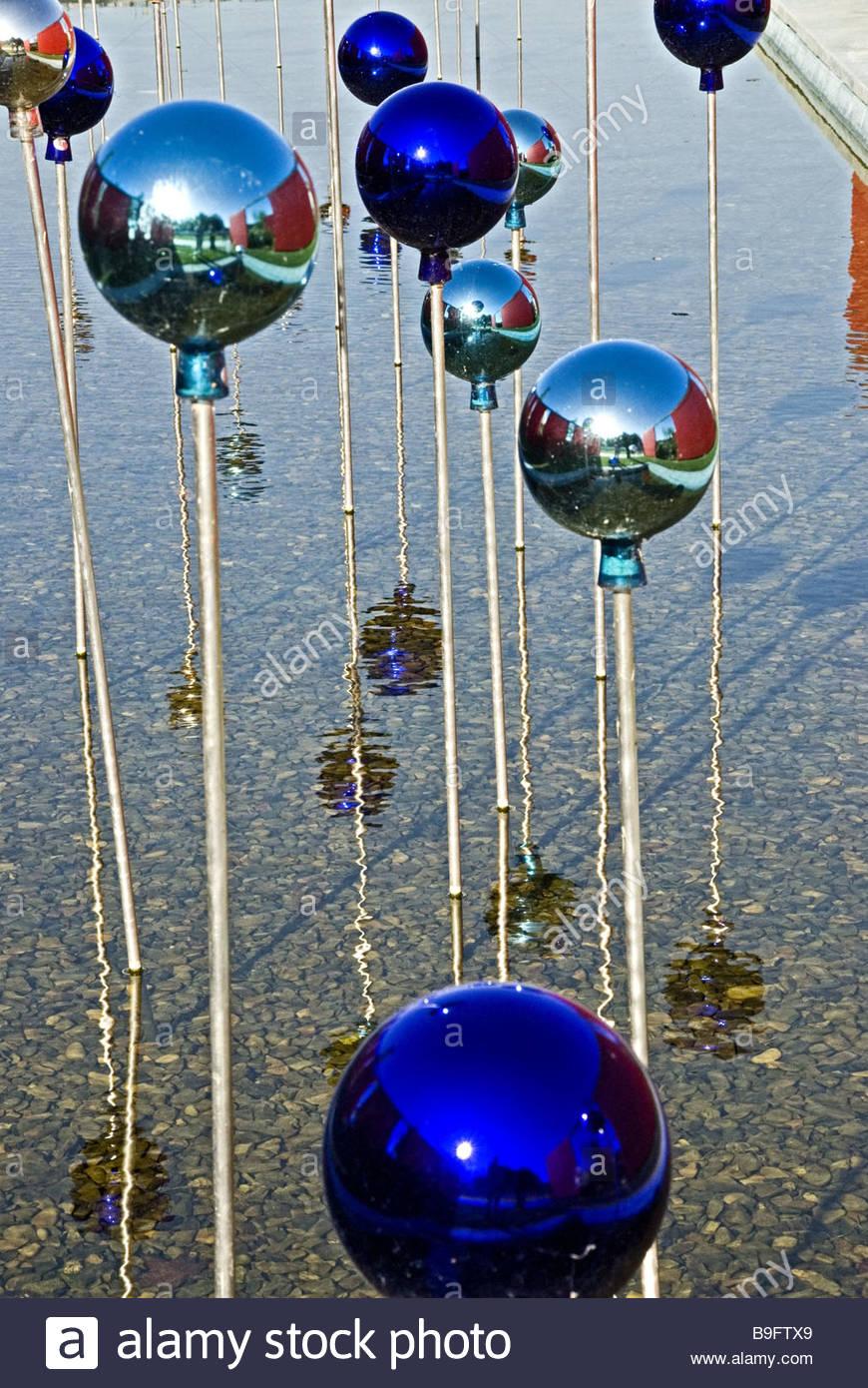 garden water rose-balls reflection pond balls blue decoration