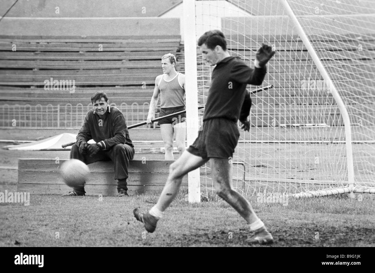 Lev Yashin goal keeper of Dinamo Moscow football team during