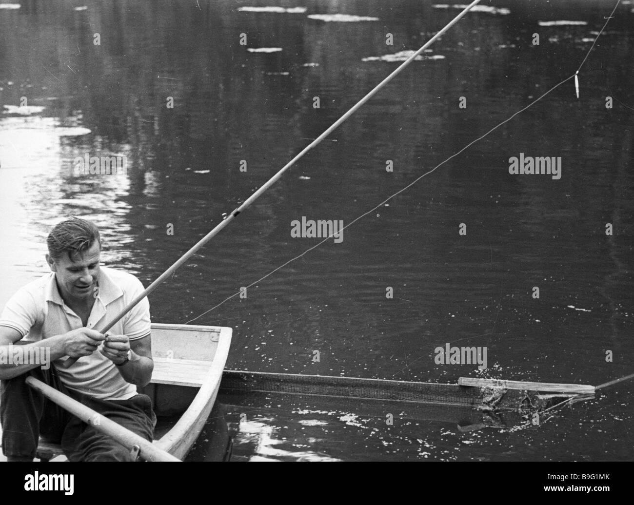 Moscow Dynamo goalkeeper Lev Yashin fishing Stock Royalty