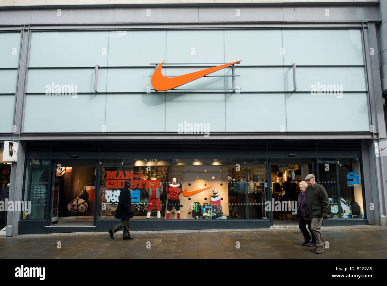 Nike store front Manchester city centre UK - Stock Image