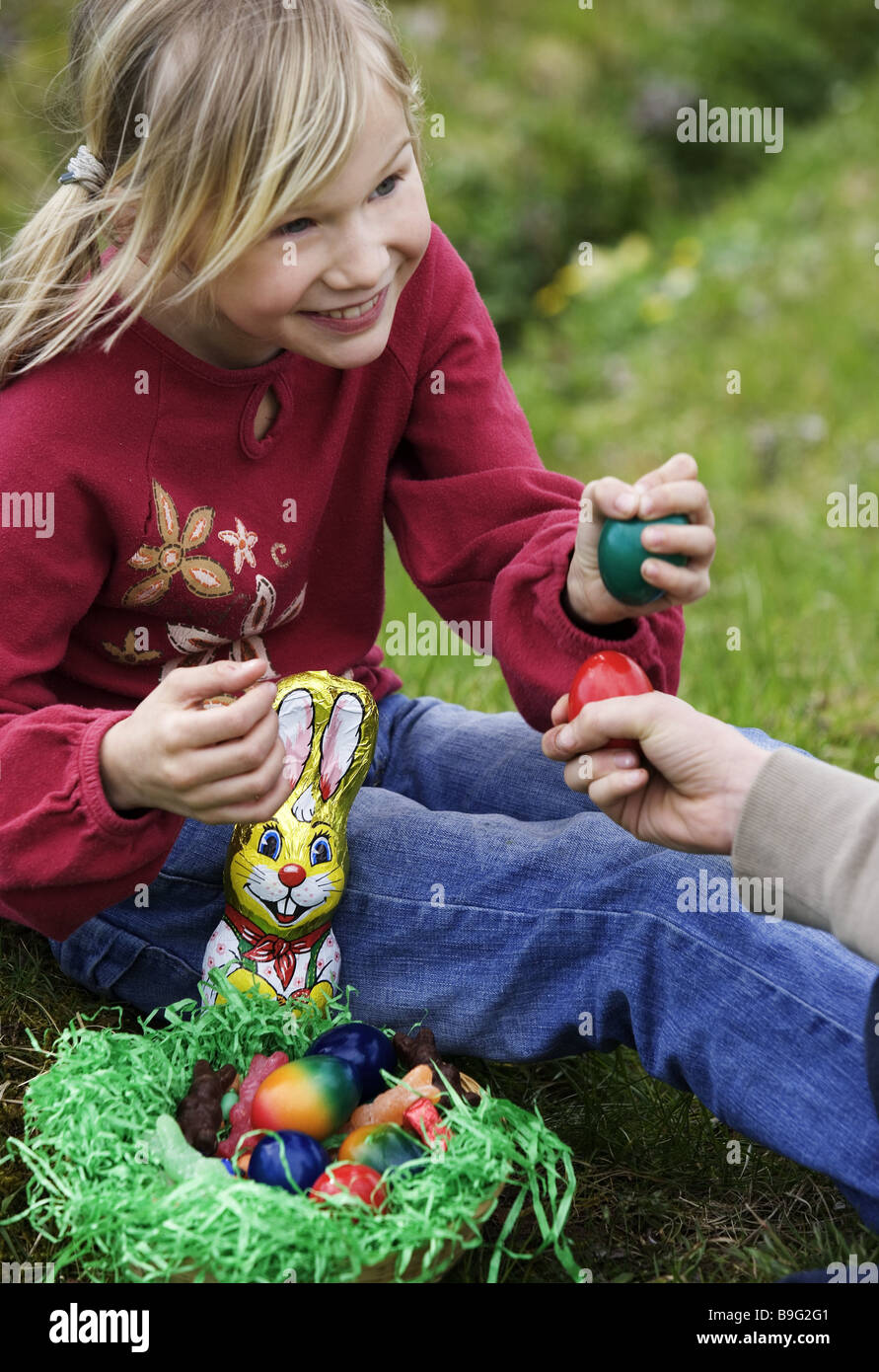 Easter Meadow Girl Sitting Easter-nest Game Eggs Easter Spring ...