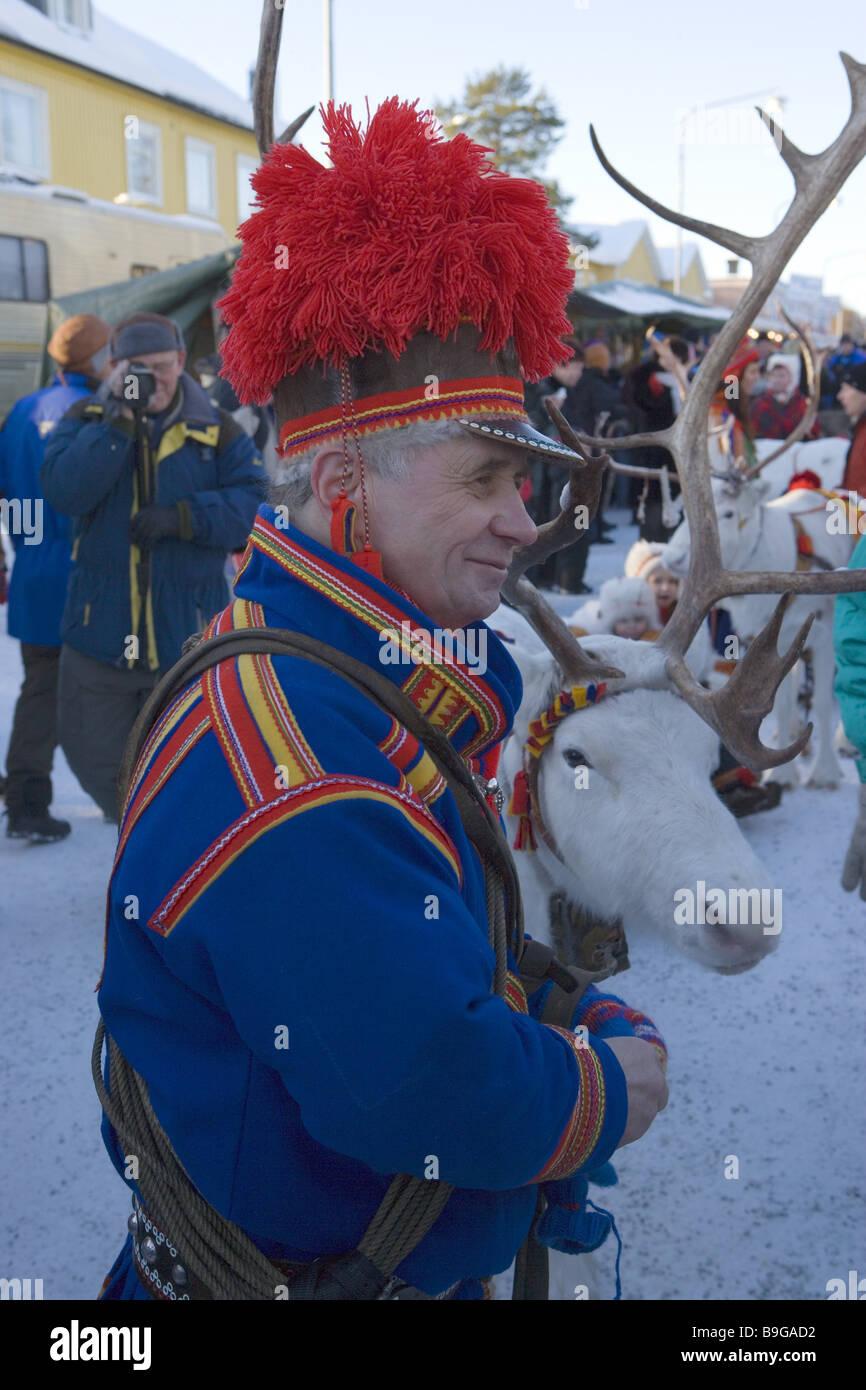 Sweden Lapland Jokkmokk Market Man Domestically Official Dress - Jokkmokk sweden map