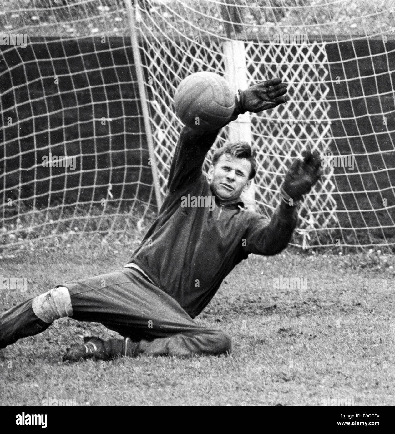 Lev Yashin Dynamo Moscow goalkeeper training Stock Royalty