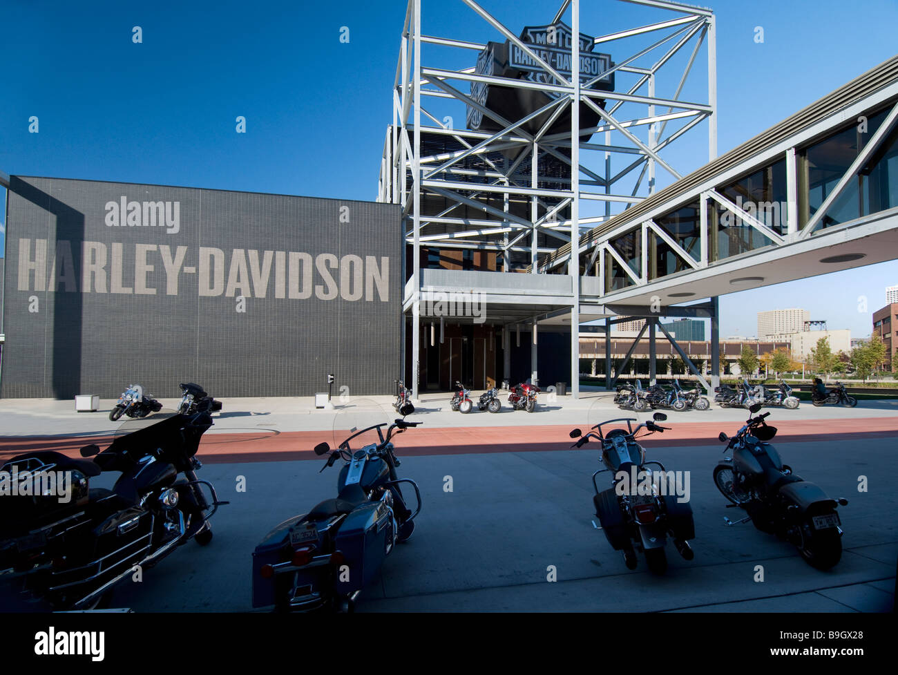 harley davidson museum in milwaukee wisconsin stock photo, royalty