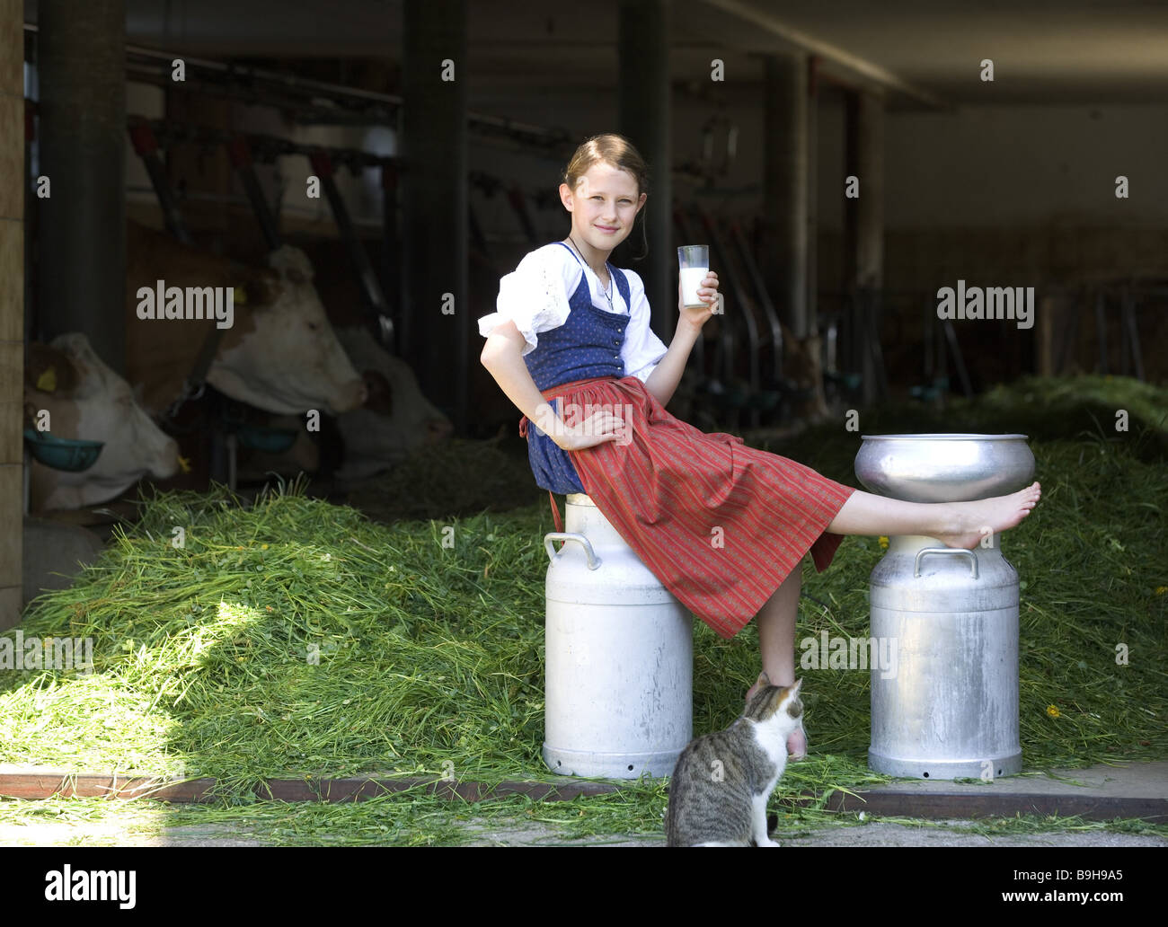 http://c8.alamy.com/comp/B9H9A5/girl-farm-milk-can-sitting-glasses-milk-cat-drink-stall-cows-13-years-B9H9A5.jpg