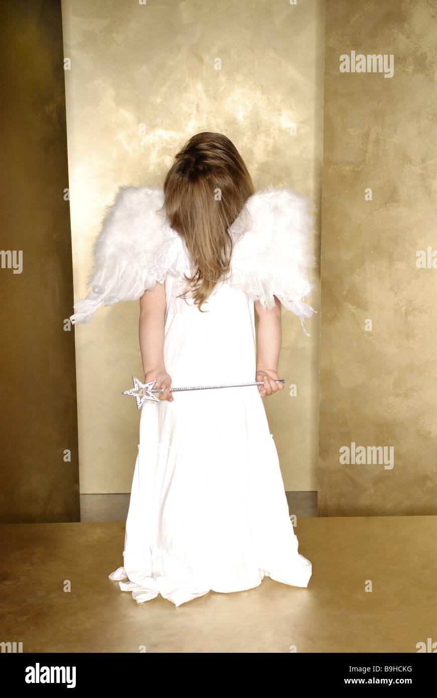 Child Girl Angel Wings Magic Wand Dress High Looks Back