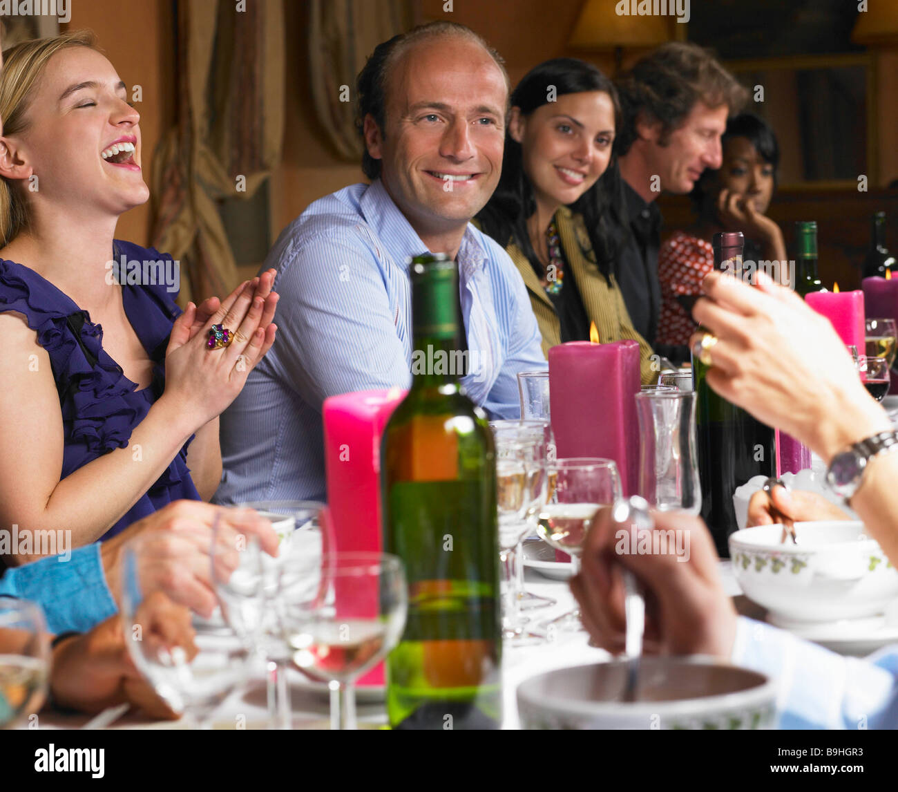 People Laughing At Dinner Table Stock Photo 23128647 Alamy