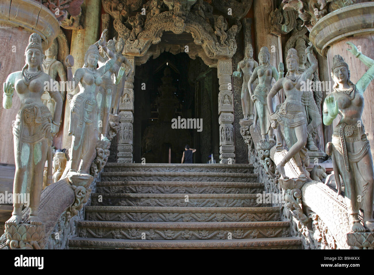 Thailand Pattaya Wood Temples Sanctuary Of Truth Stairway Entrance Architecture Asian Asia Reception 2006 Outside