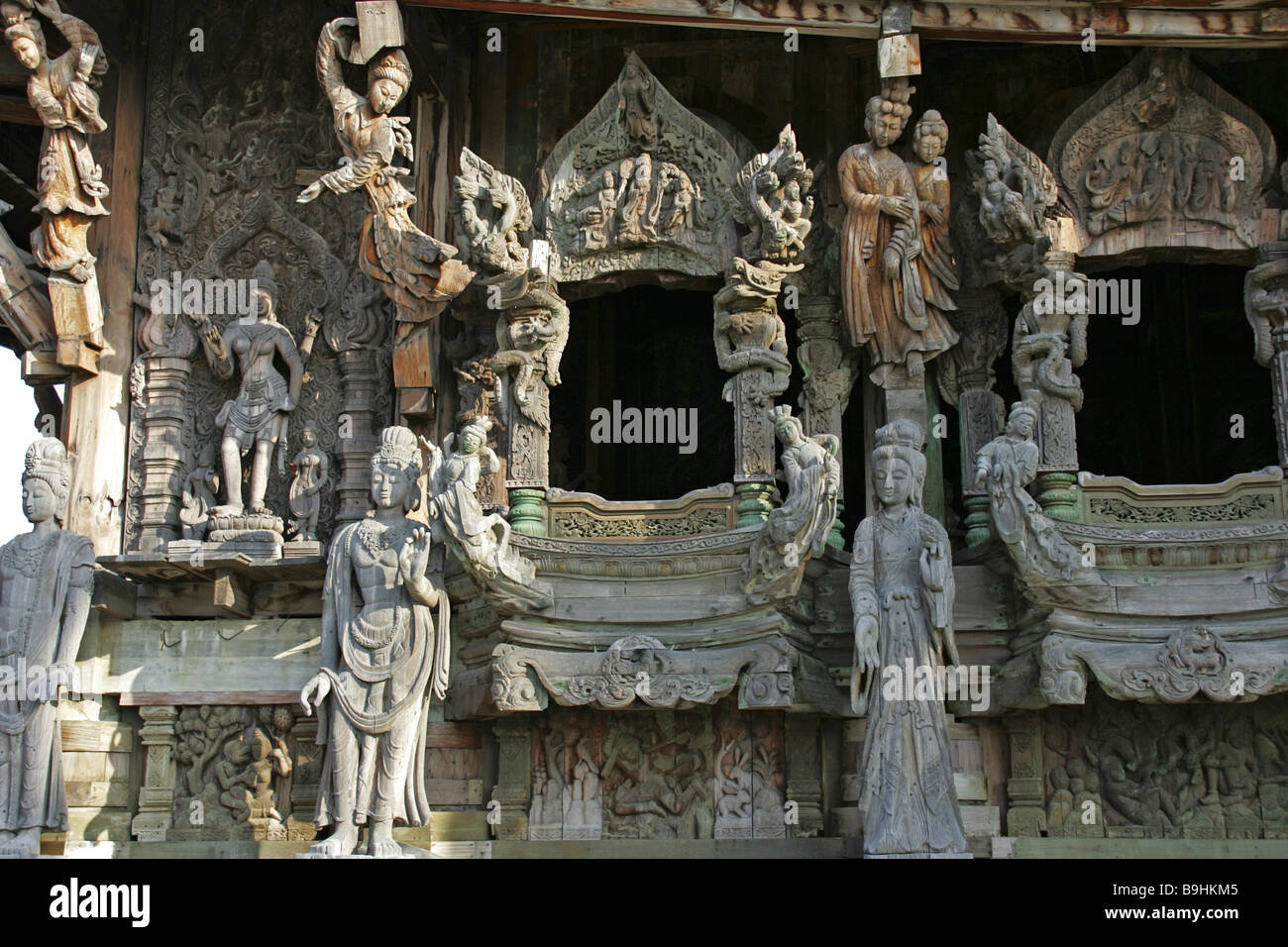 Thailand Pattaya Wood Temples Sanctuary Of Truth Facade Detail Architecture Asian Asia Reception 2006 Outside