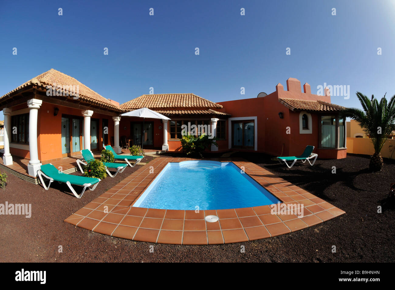 Fish Eye Shot Bungalow Villa With A Swimming Pool Corralejo Fuerteventura Canary Islands Spain Europe