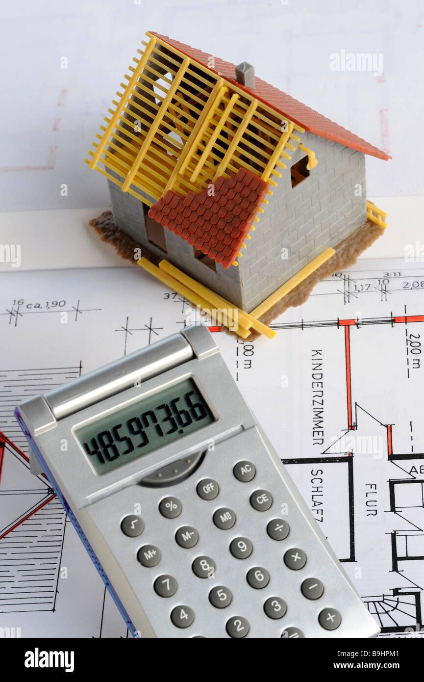 Superb House Construction Calculator #2: Miniature House, Construction Plan, Calculator, Red Pencil, Symbolic  Picture For Home Ownership