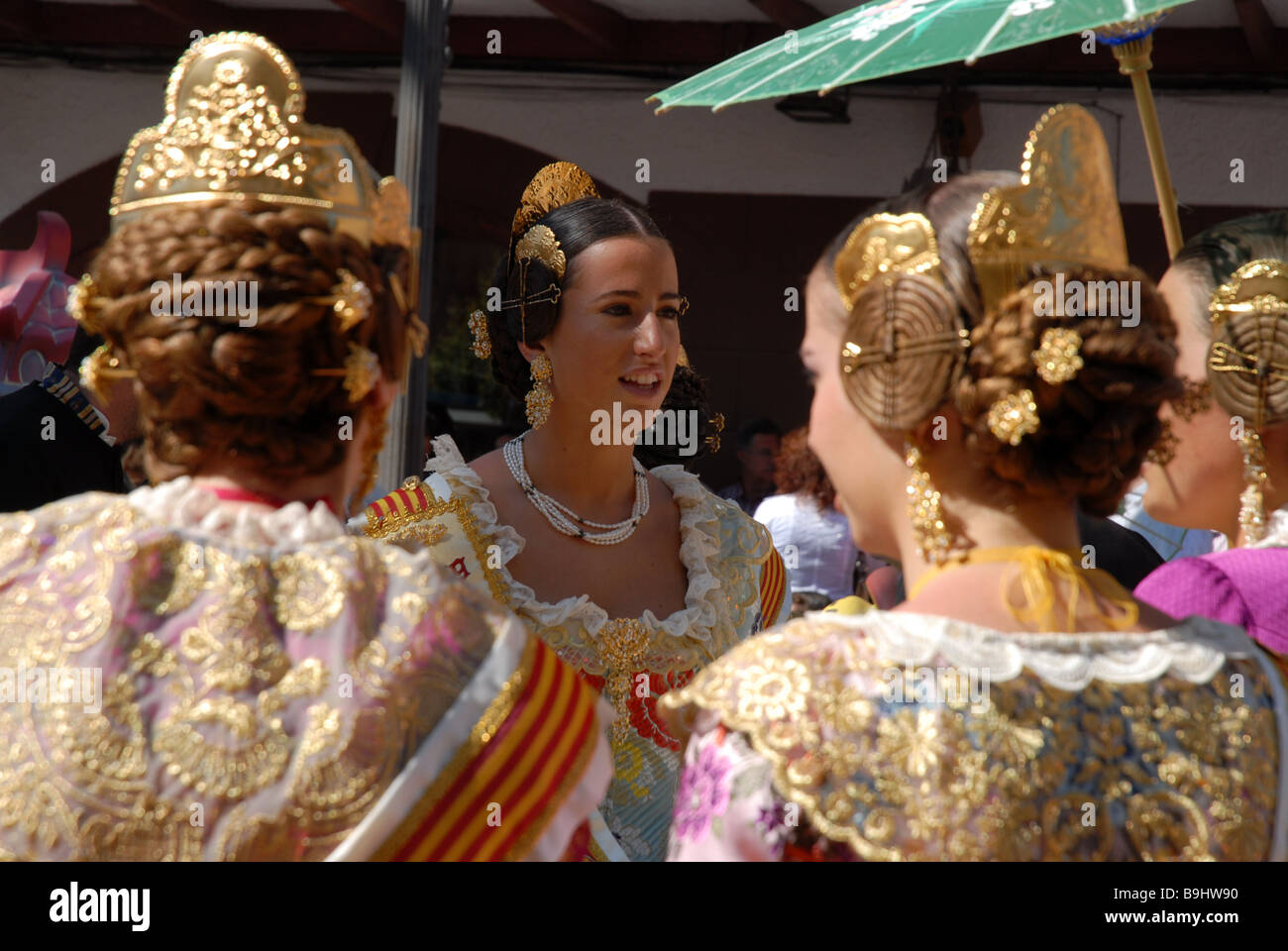 detail of Falleras in Las Fallas Fiesta, Dia de San Jose, Denia Stock Photo, ...