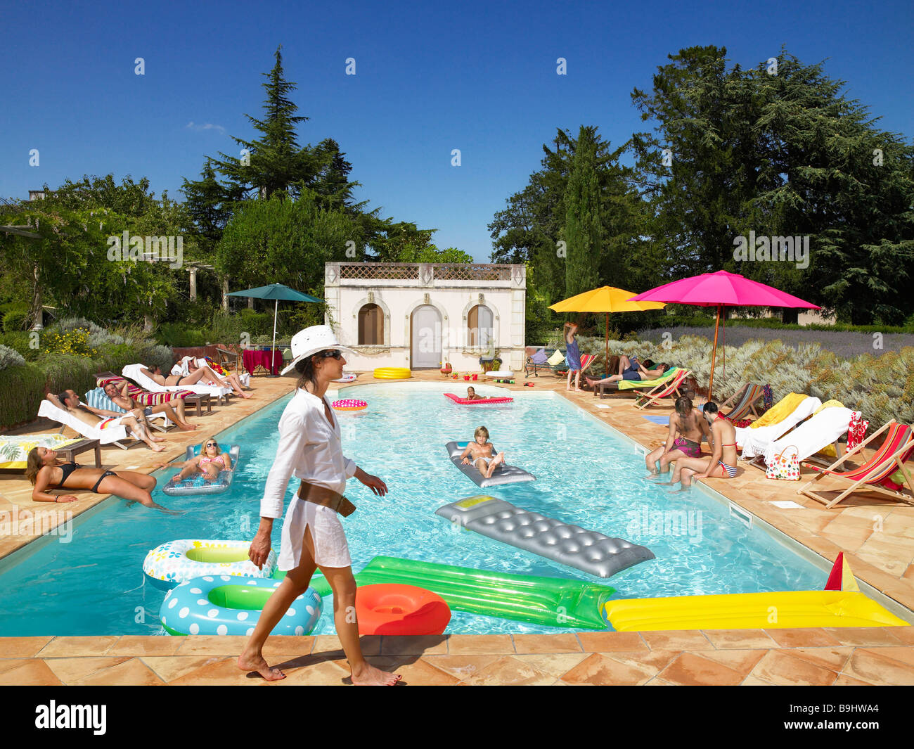 Around The Pool People Enjoying Summer Around The Pool Stock Photo Royalty Free