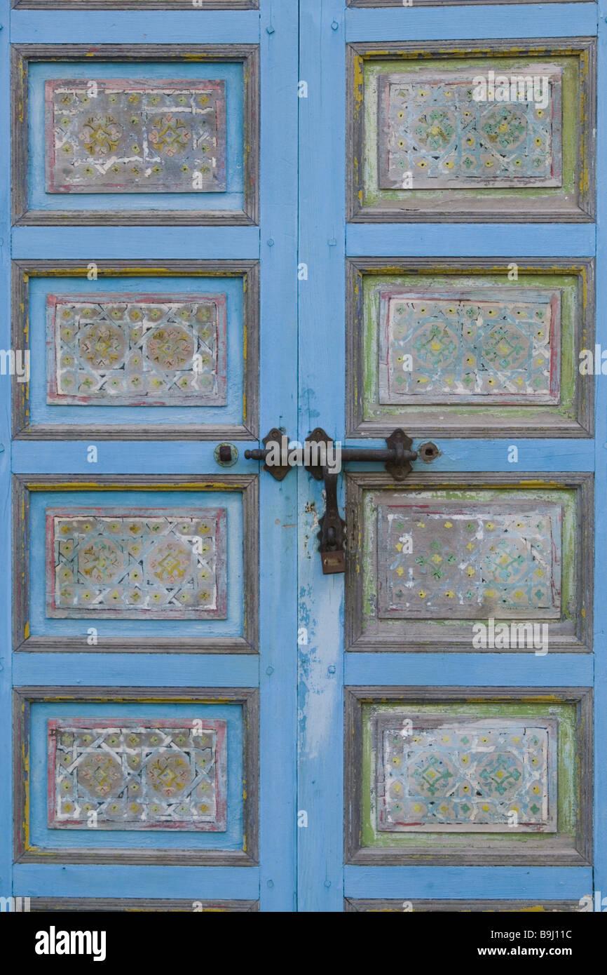 Front Door Bolts Part - 22: Stock Photo - Wooden Door Colorfully Old Paints Front Door Door Entrance  Detail Bolts Door-bolts Light-blue Palace Door-palace Ornaments Bolt