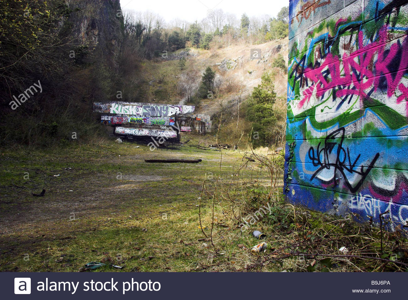 write on walls stock photos write on walls stock images alamy a former police shooting range now a scene of anti social behaviour avon