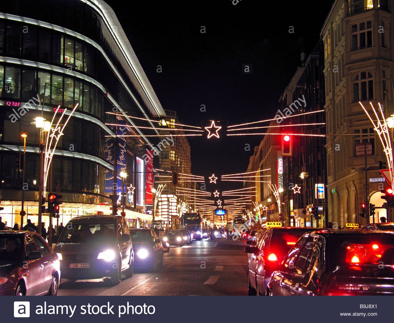 germany berlin friedrich street christmas illumination traffic stock photo royalty free image. Black Bedroom Furniture Sets. Home Design Ideas