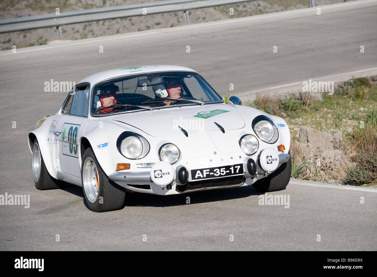 white renault alpine a110 berlinette sports car racing in the classic stock photo royalty free. Black Bedroom Furniture Sets. Home Design Ideas