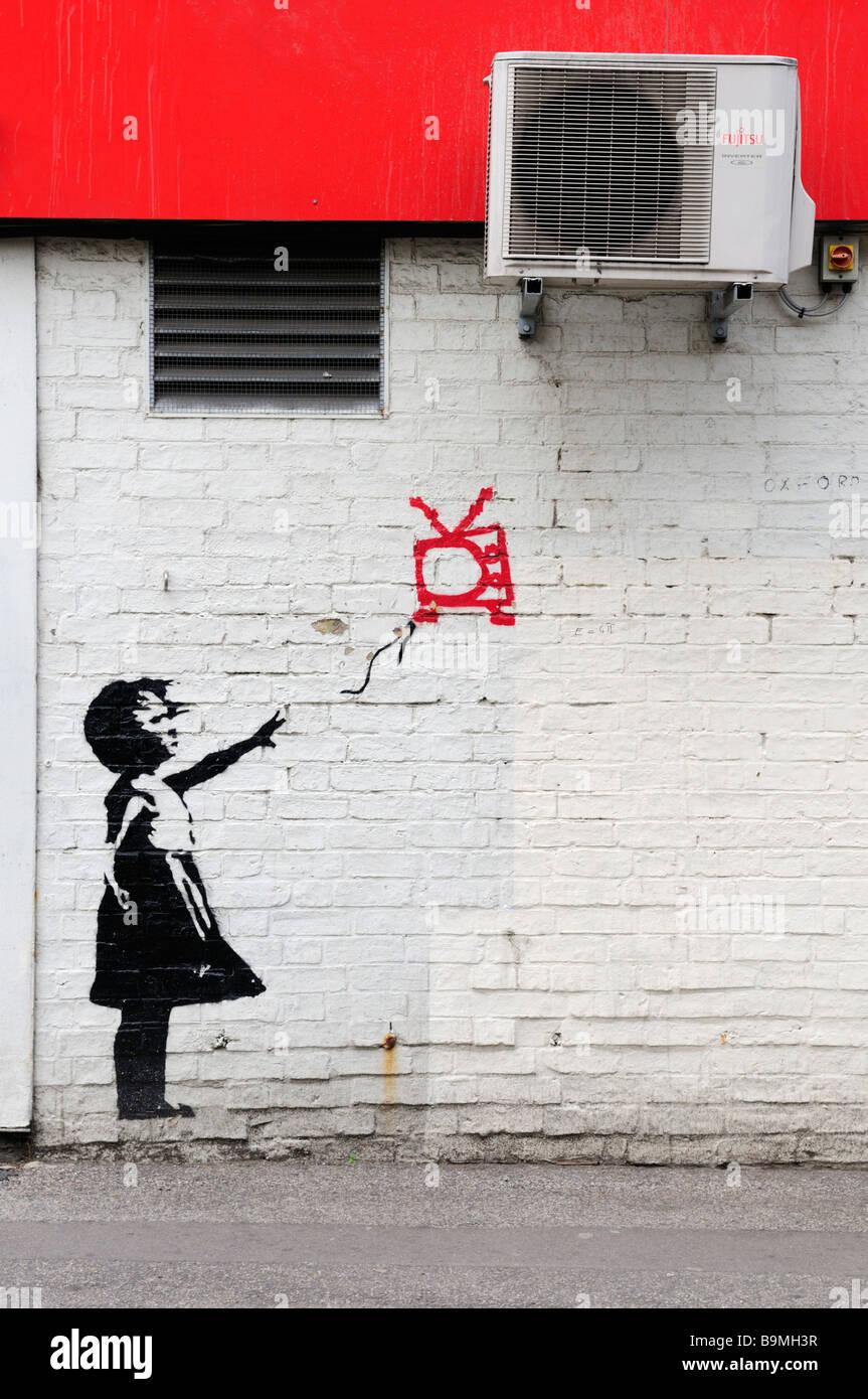 Graffiti wall cambridge - Stock Photo Street Art Graffiti In Mill Road Cambridge England Uk