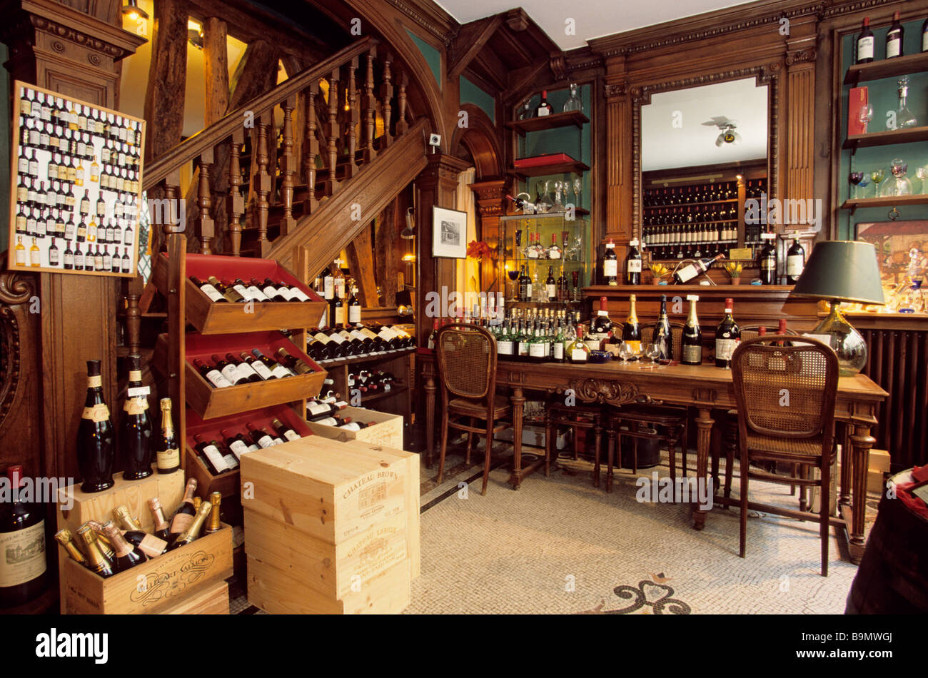 france paris rue du bac ryst dupeyron fine wines shop stock photo royalty free image. Black Bedroom Furniture Sets. Home Design Ideas
