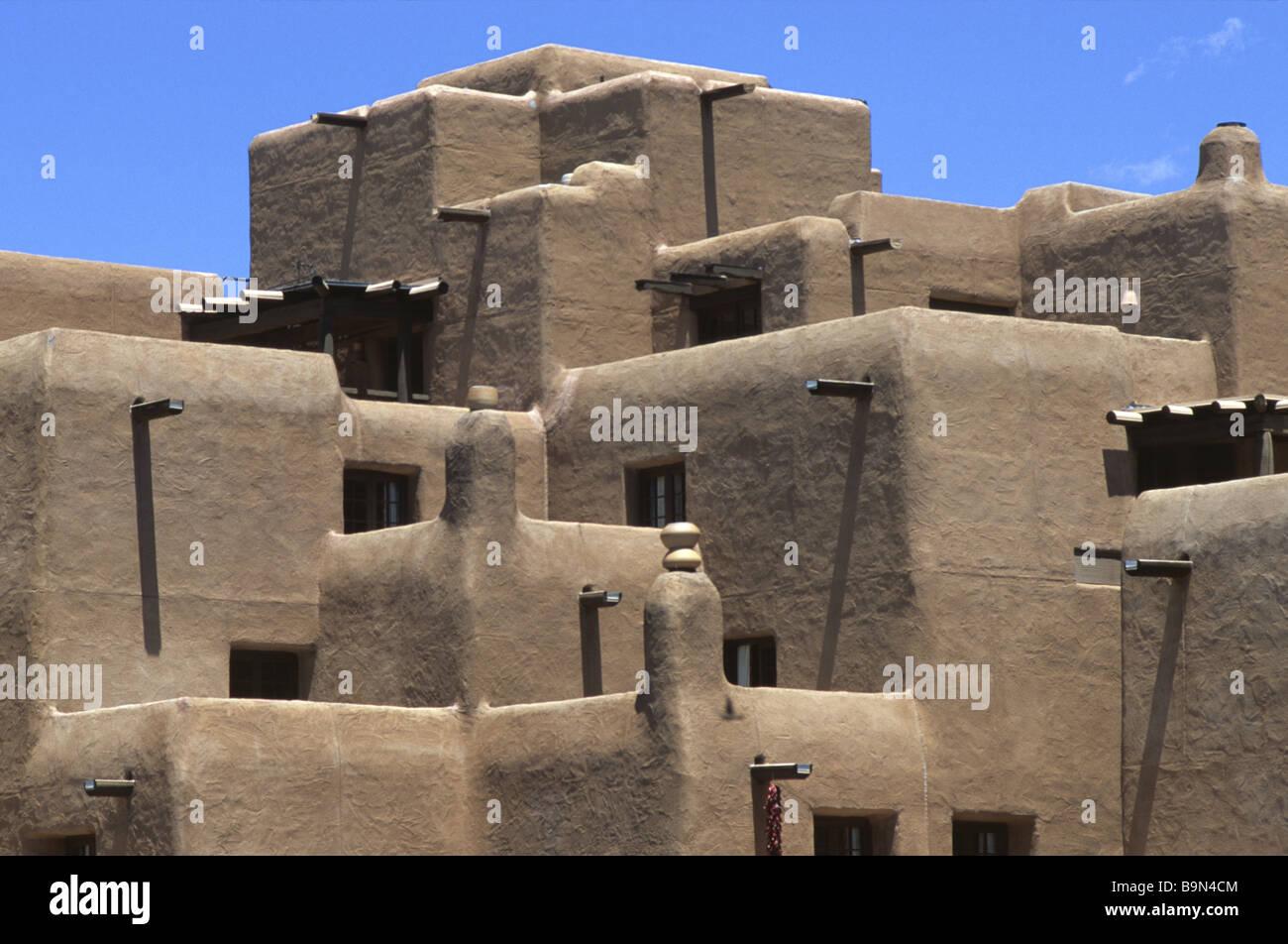 Adobe Pueblo Style Architecture In Santa Fe New Mexico Usa
