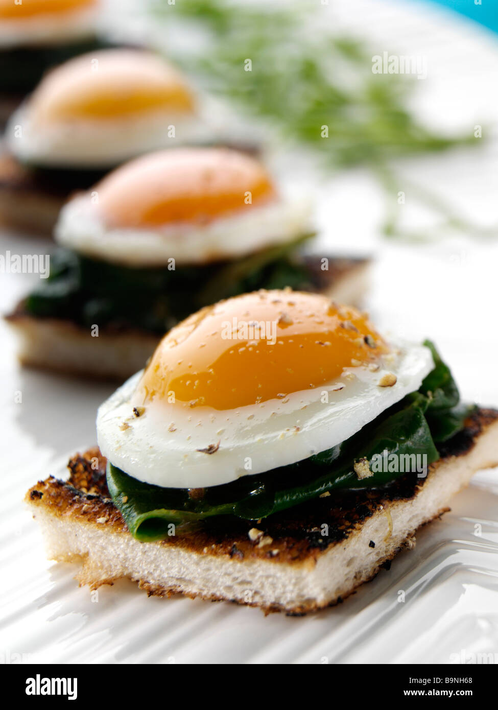 Peppered quails eggs in spinach on an english muffin for Canape in english