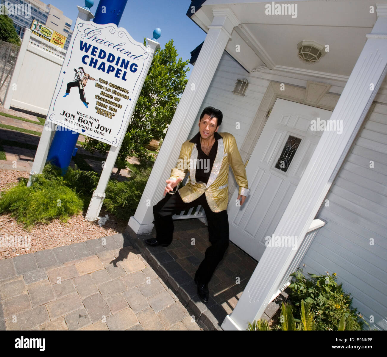 an elvis impersonator at the graceland wedding chapel in las vegas nevada
