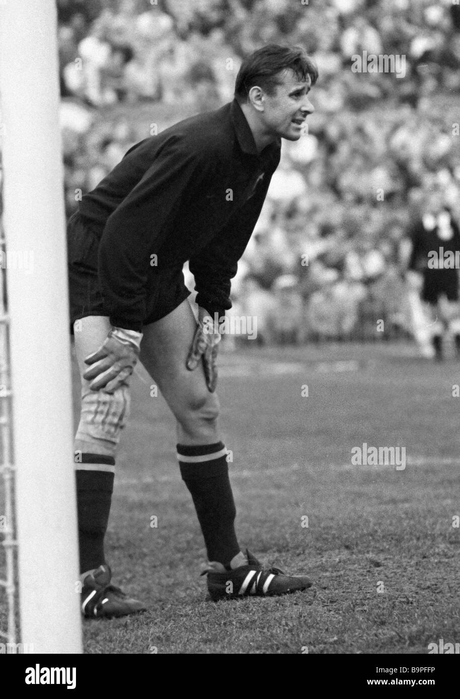 Goalkeeper Lev Yashin of Dynamo Moscow and U S S R national soccer