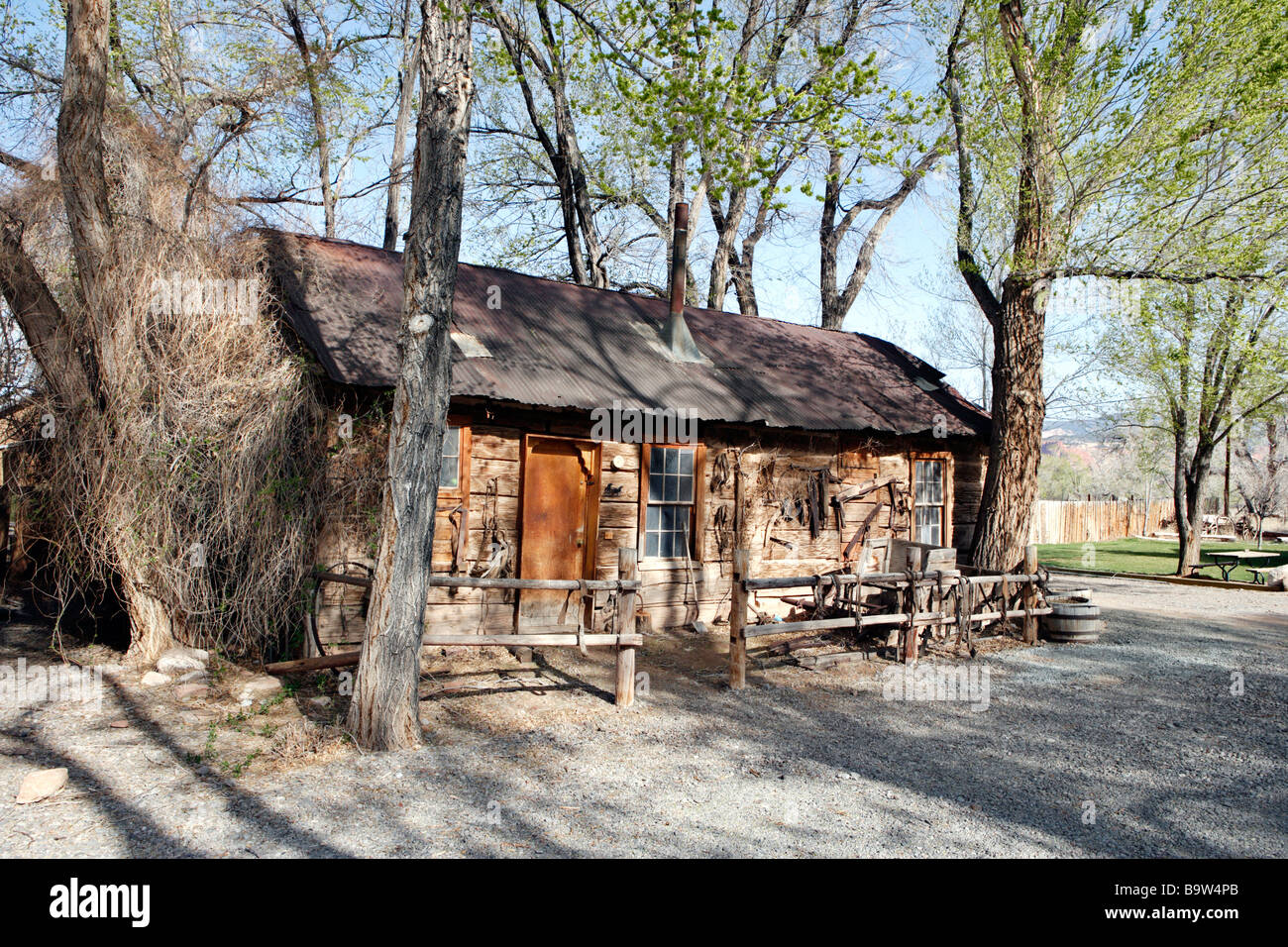 Old Pioneer Style Log Cabin In Utah Usa Stock Photo