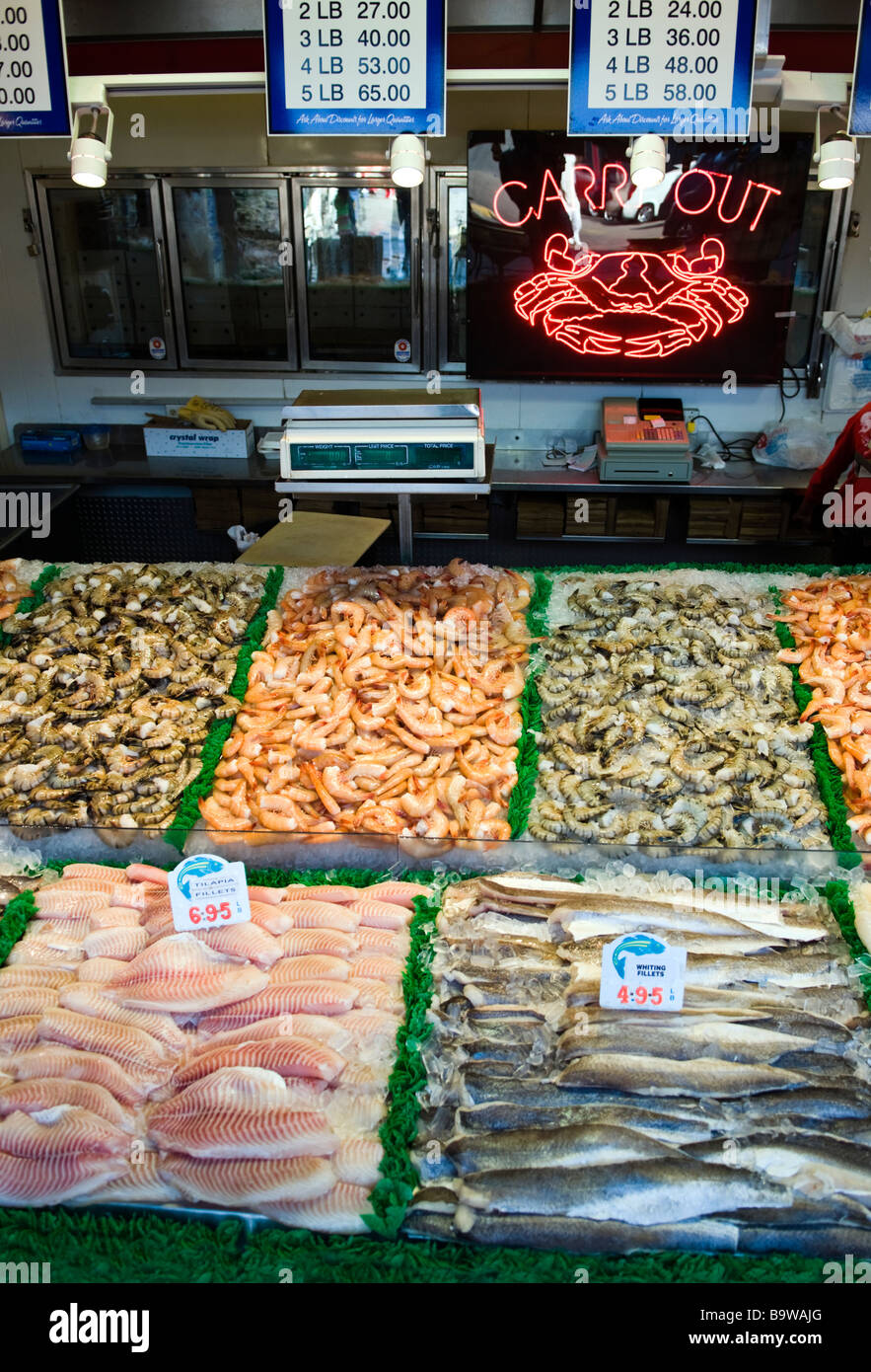 Fresh seafood displayed at the fish market at the wharf in for Fresh fish market los angeles