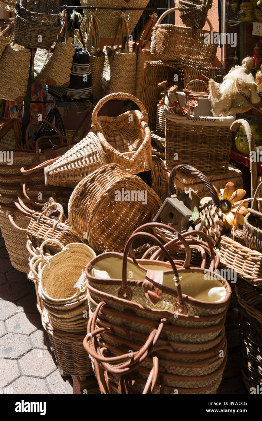 Wicker baskets on sale in a shop in the old town (Vieux Nice ...