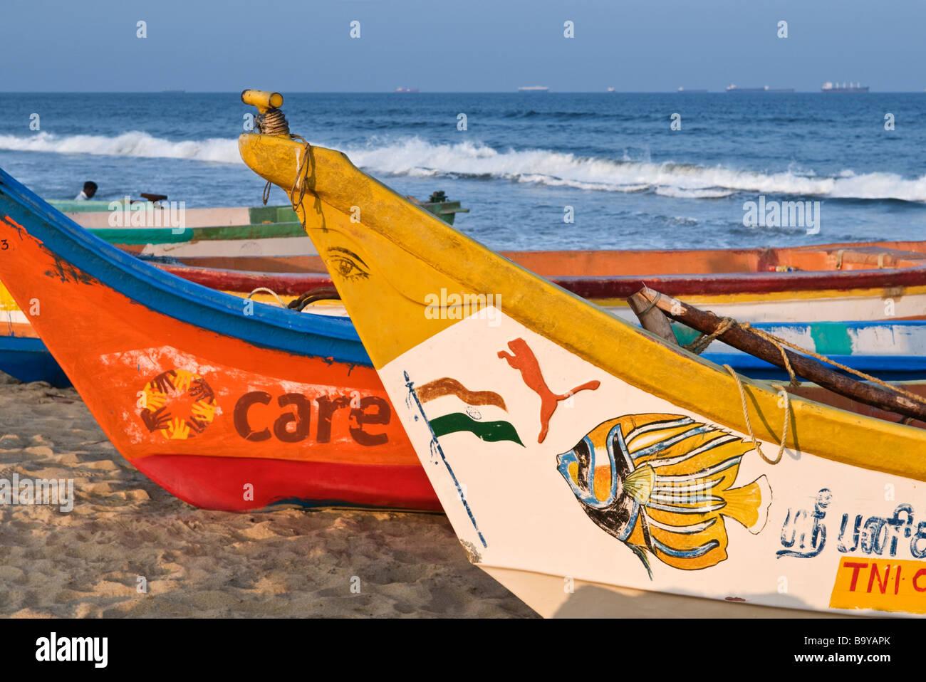 Fishing boats on Marina Beach Chennai Tamil Nadu India ...