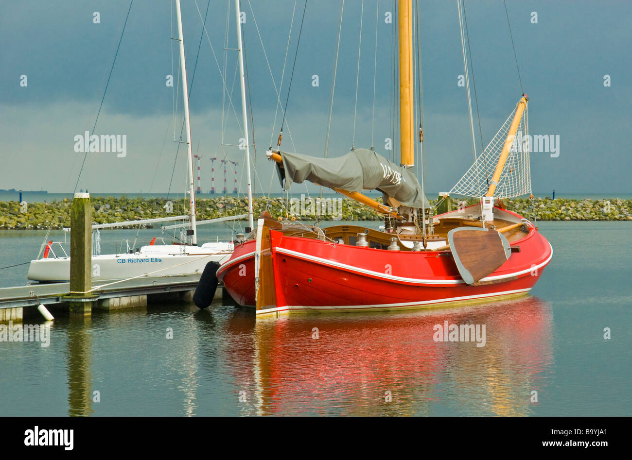 Classical dutch flat bottom sailing and fishing boat in for Flat bottom fishing boats